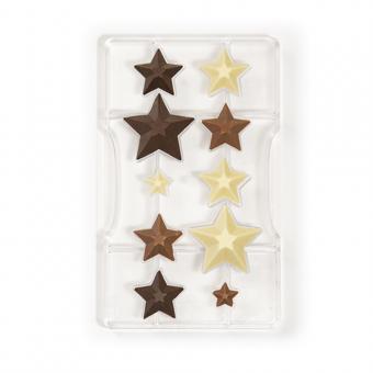 Schokogussform Policarbonat Sterne, ø 50 – 35 – 20 x 15 h mm