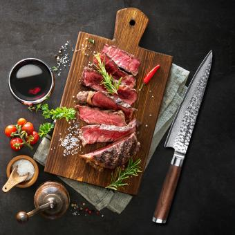 Adelmayer Profi Chef Knife 20cm Wallnussgriff, Damaststahl